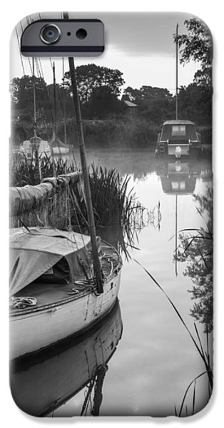 Boat iPhone Cases - Boats moored on riverbank at sunrise in countryside landscape in iPhone Case by Matthew Gibson