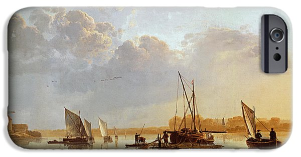 Boat Paintings iPhone Cases - Boats on a River iPhone Case by Aelbert Cuyp