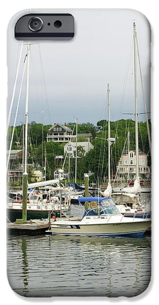 Sailboats Docked iPhone Cases - Boats Rocky Neck Art Colony Gloucester Massachusetts iPhone Case by Michelle Wiarda