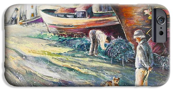 Seacapes iPhone Cases - Boats Yard in Villajoyosa Spain iPhone Case by Miki De Goodaboom