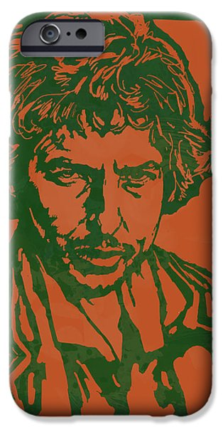 American ist Mixed Media iPhone Cases - Bob Dylan Pop Stylised Art Sketch Poster iPhone Case by Kim Wang