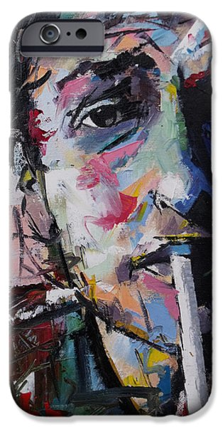 Vivid Colour Paintings iPhone Cases - Bob Dylan iPhone Case by Richard Day