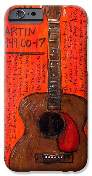 Bob Dylan Paintings iPhone Cases - Bob Dylans First Acoustic iPhone Case by Karl Haglund