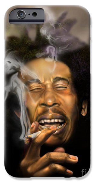 Super Stars iPhone Cases - Bob Marley-Burning Lights 3 iPhone Case by Reggie Duffie
