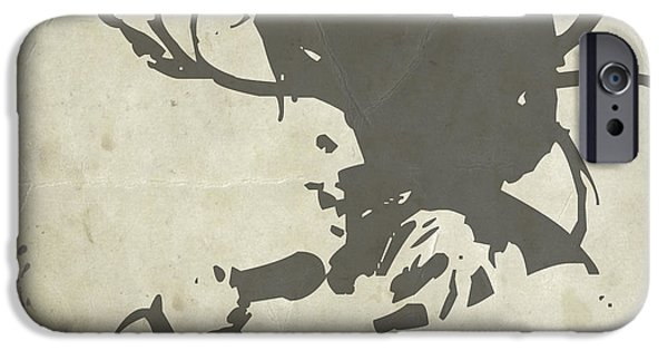 Watercolors Paintings iPhone Cases - Bob Marley Grey iPhone Case by Naxart Studio