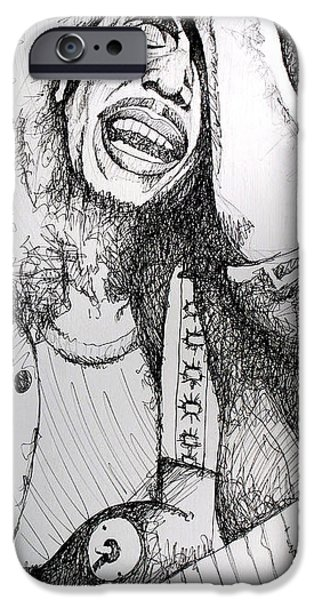 Famous Musician iPhone Cases - Bob Marley in Ink iPhone Case by Joshua Morton