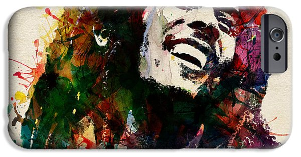 Smiling Mixed Media iPhone Cases - Bob Marley The King of Reggae iPhone Case by Marian Voicu