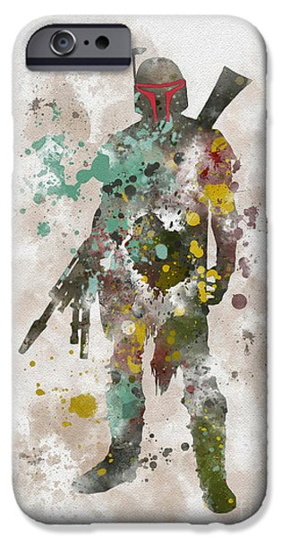 Science Mixed Media iPhone Cases - Boba Fett iPhone Case by Rebecca Jenkins