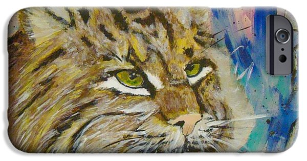 Bobcats Paintings iPhone Cases - Bobcat iPhone Case by Jill Swartz