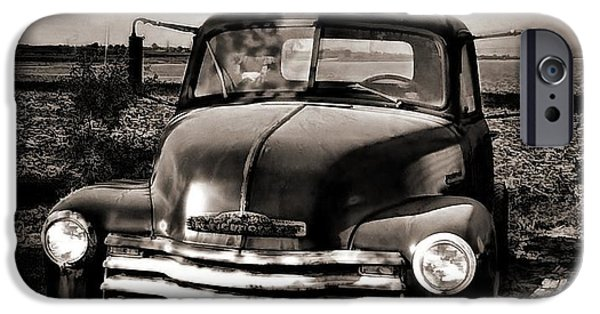 Julie Dant iPhone Cases - Bobs Truck in b/w iPhone Case by Julie Dant