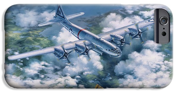 20th Drawings iPhone Cases - BOCKSCAR Over Nagasaki iPhone Case by Randy Green