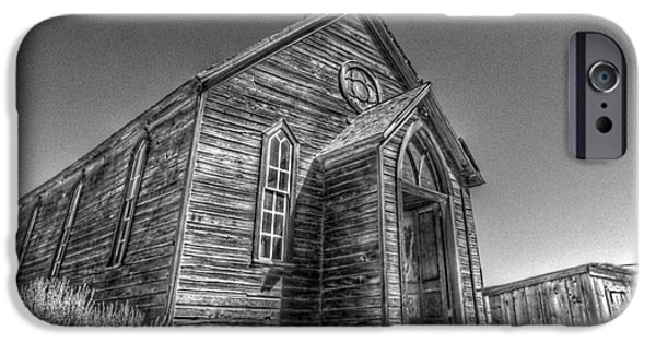 Old Barns iPhone Cases - Bodie Church BW iPhone Case by Rich Governali