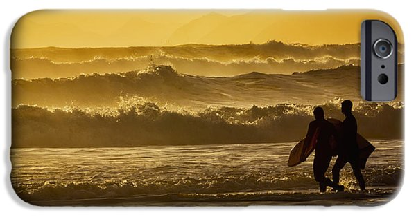 Bonding iPhone Cases - Body Surfers Walk In The Water iPhone Case by Marion Owen