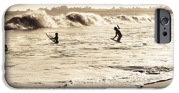 Santa Cruz Pier iPhone Cases - Body Surfing Family iPhone Case by Marilyn Hunt