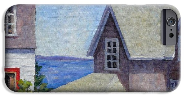 Maine Landscapes Paintings iPhone Cases - Bogdanov House Monhegan iPhone Case by Thor Wickstrom