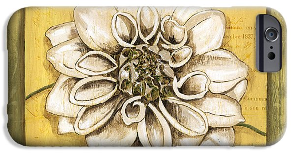 Flora Paintings iPhone Cases - Bohemian Dahlia 1 iPhone Case by Debbie DeWitt