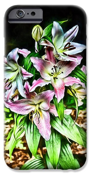 Flower Of Life iPhone Cases - Bohemian Lilies iPhone Case by John Haldane