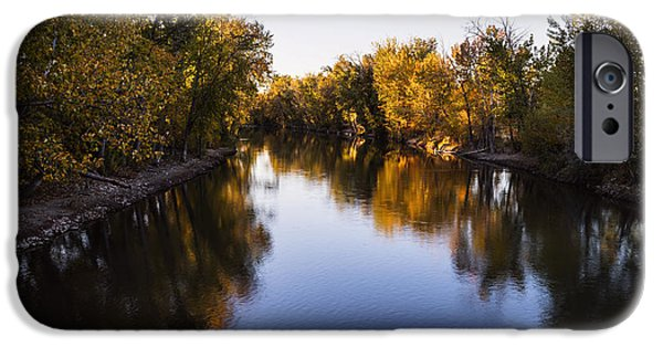 Autumn iPhone Cases - Boise River Autumn evening in Boise Idaho iPhone Case by Vishwanath Bhat