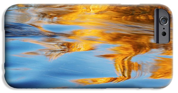 Nature Abstracts iPhone Cases - Boise River Autumn Reflection abstract iPhone Case by Vishwanath Bhat