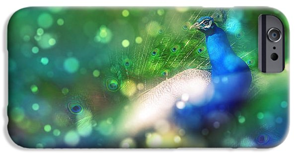 Photo Digital iPhone Cases - Bokeh Peacock iPhone Case by Audrey Jeanne Roberts