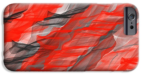 Red Abstract iPhone Cases - Bold And Dramatic iPhone Case by Lourry Legarde