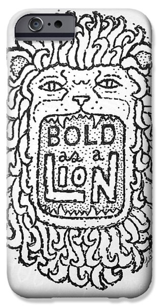 Jesus Drawings iPhone Cases - Bold As A Lion iPhone Case by Jonathan Edward Shaw