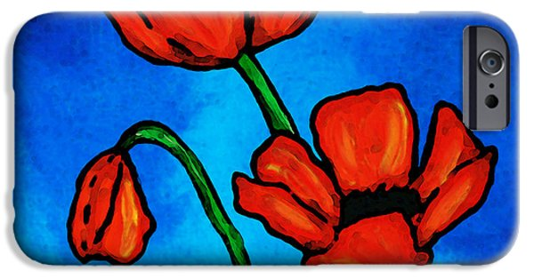 Best Buy Mixed Media iPhone Cases - Bold Red Poppies - Colorful Flowers Art iPhone Case by Sharon Cummings