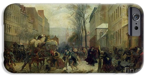 1871 iPhone Cases - Bombardment of Paris in 1871 iPhone Case by Felix Philippoteaux