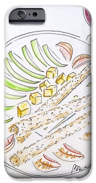 Table Wine Drawings iPhone Cases - Bon Appetit  iPhone Case by Barbara Chase