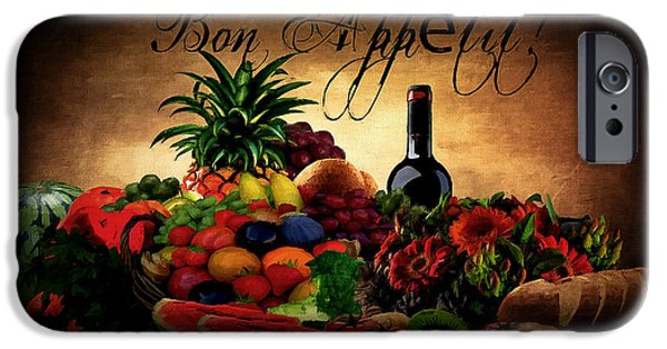 Wine Bottles iPhone Cases - Bon Appetit iPhone Case by Lourry Legarde