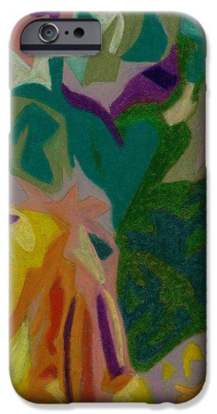Organic Pastels iPhone Cases - bonaventure Pondering Lady Part 2 iPhone Case by Dorneisha Batson
