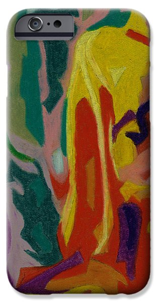 Organic Pastels iPhone Cases - bonaventure Pondering Lady Part 3 iPhone Case by Dorneisha Batson