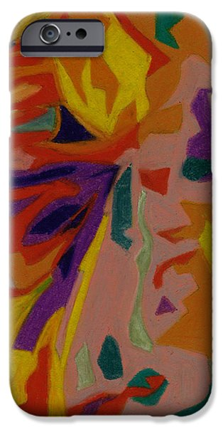 Organic Pastels iPhone Cases - bonaventure Pondering Lady Part 4 iPhone Case by Dorneisha Batson
