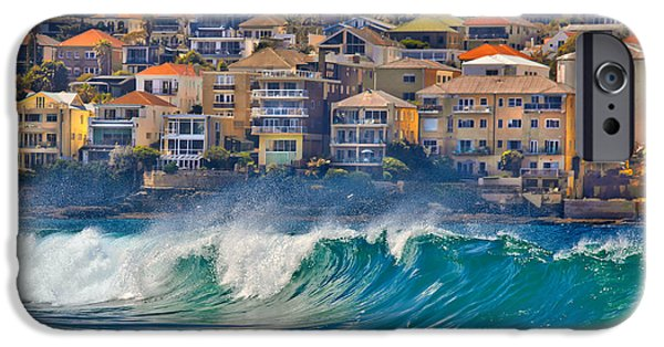 Beach Landscape iPhone Cases - Bondi Waves iPhone Case by Az Jackson