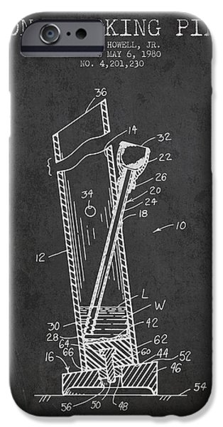 Joints iPhone Cases - Bong Smoking Pipe Patent 1980 - Charcoal iPhone Case by Aged Pixel