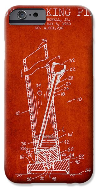 Joints iPhone Cases - Bong Smoking Pipe Patent 1980 - Red iPhone Case by Aged Pixel