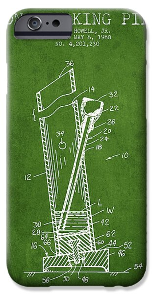 Joints iPhone Cases - Bong Smoking Pipe Patent1980 - Green iPhone Case by Aged Pixel