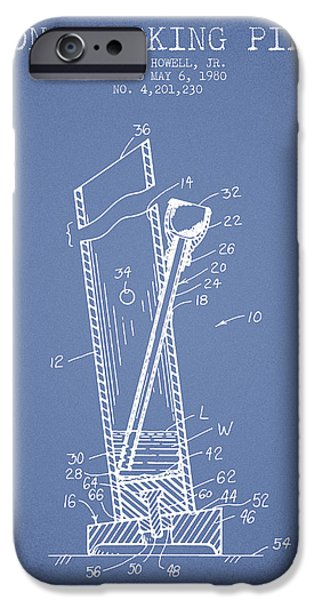 Joints iPhone Cases - Bong Smoking Pipe Patent1980 - Light Blue iPhone Case by Aged Pixel