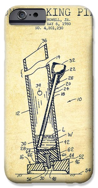 Joints iPhone Cases - Bong Smoking Pipe Patent1980 - Vintage iPhone Case by Aged Pixel