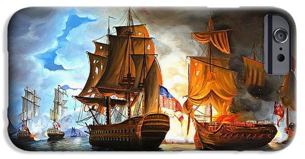 Navy iPhone Cases - Bonhomme Richard engaging The Serapis in Battle iPhone Case by Paul Walsh