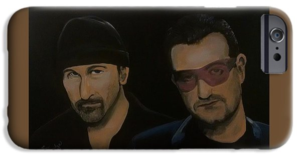 U2 Paintings iPhone Cases - Bono and The Edge iPhone Case by Thomas Breckenridge