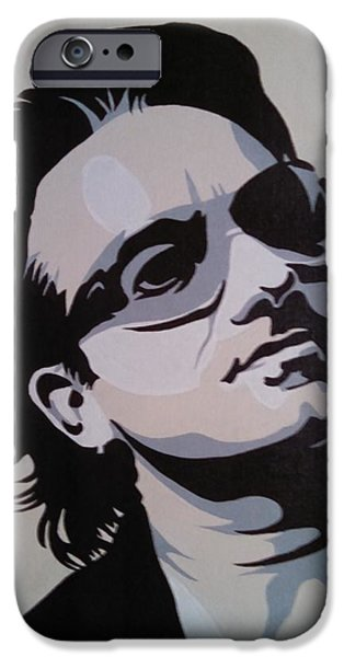 Bono Paintings iPhone Cases - Bono iPhone Case by Ken Jolly