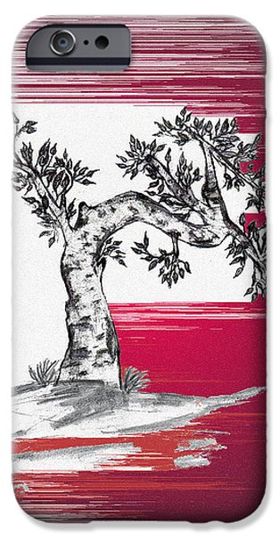 Abstract Expressionist Drawings iPhone Cases - Bonsai iPhone Case by John Krakora