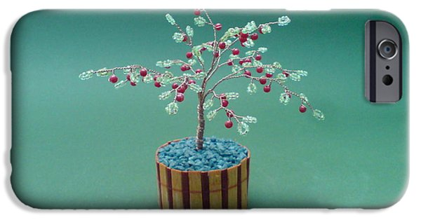 Food And Beverage Sculptures iPhone Cases - Bonsai Wire Tree Sculpture Beaded Apple      iPhone Case by Bujas Sinisa