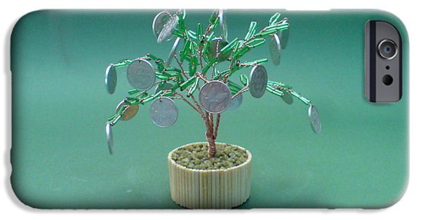 Food And Beverage Sculptures iPhone Cases - Bonsai Wire Tree Sculpture Beaded Money      iPhone Case by Bujas Sinisa