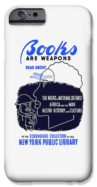 Weapons iPhone Cases - Books Are Weapons - WPA iPhone Case by War Is Hell Store
