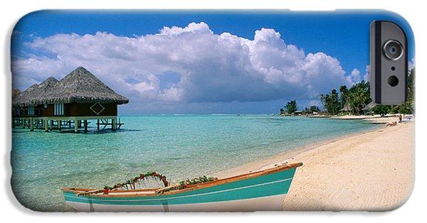 Canoe iPhone Cases - Bora Bora, Hotel Moana iPhone Case by Greg Vaughn - Printscapes