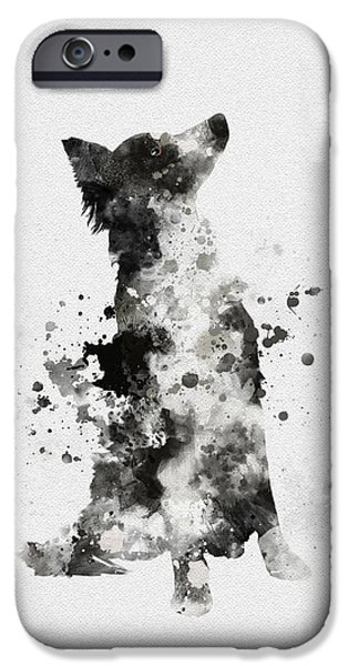 Canine Mixed Media iPhone Cases - Border Collie iPhone Case by Rebecca Jenkins