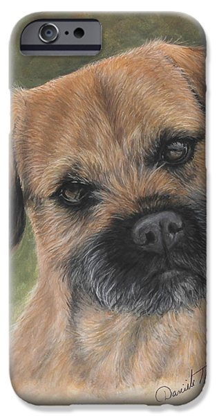 Breeder iPhone Cases - Border Terrier portrait iPhone Case by Daniele Trottier