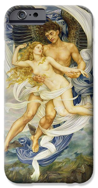 Centre iPhone Cases - Boreas and Oreithyia iPhone Case by Evelyn De Morgan